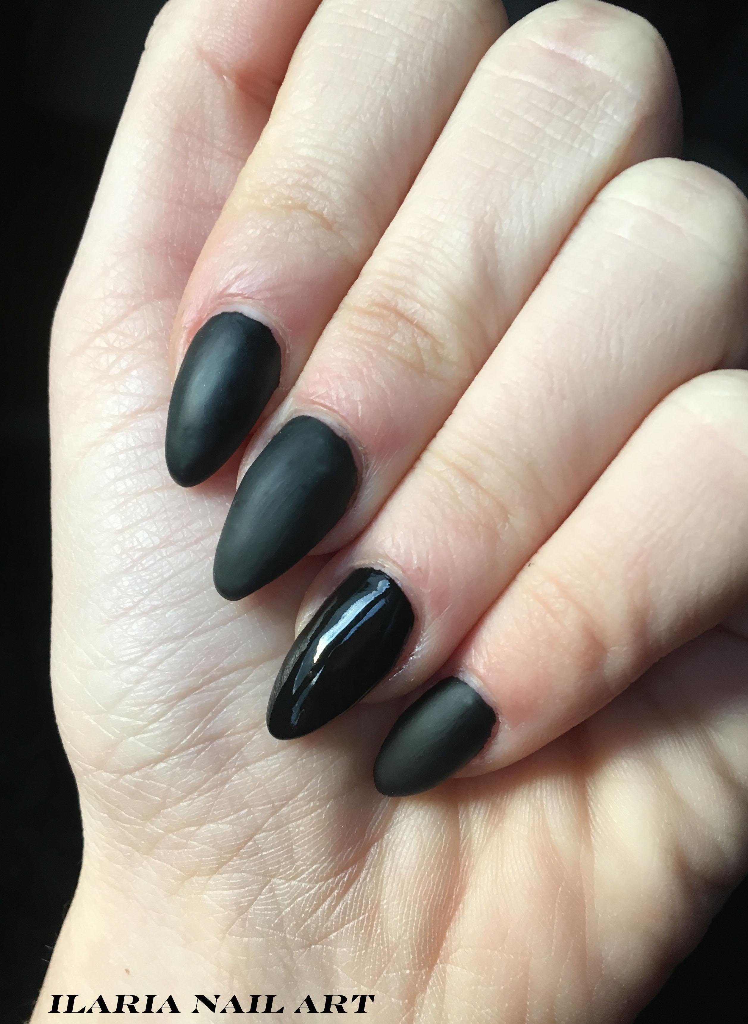 total black nail art