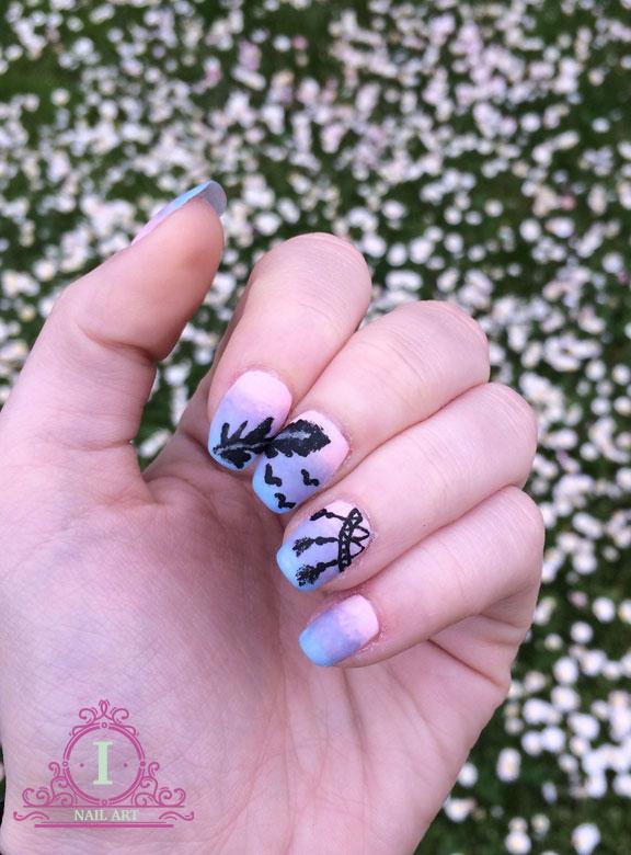 nail art dream con disegni e scritte in acrilico