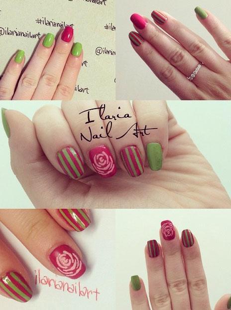 nail art primaverile con dei colori vivaci e una rosa stilizzata