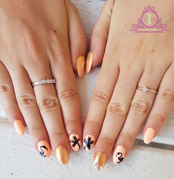 Flamingo nails unghie oro a specchio ilaria vi parla di unghie make up e beauty - Unghie gel specchio ...