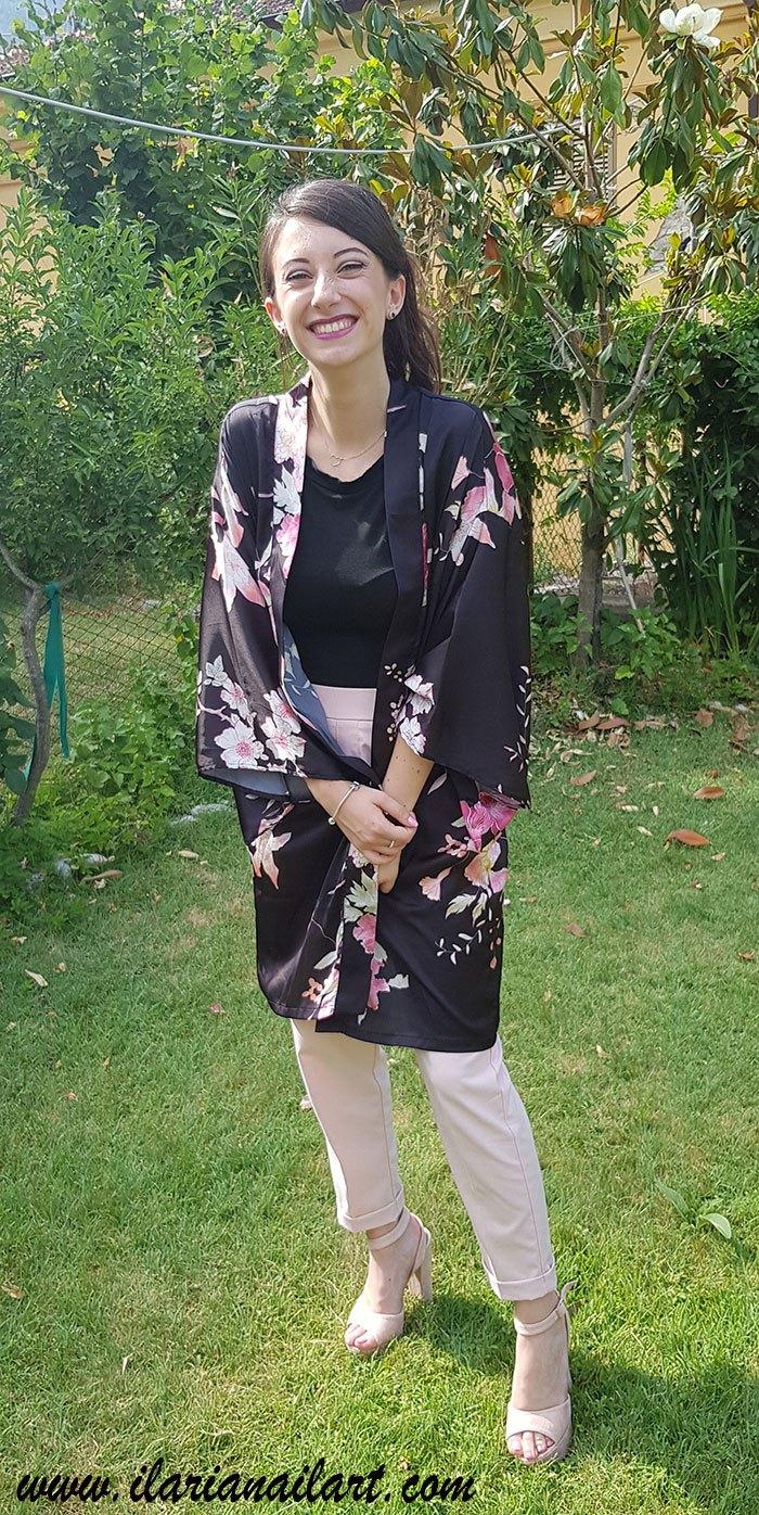 kimono con outfit elegante