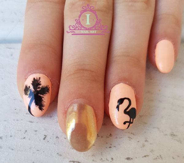 Flamingo nails unghie oro a specchio ilaria vi parla di unghie make up e beauty - Nail art a specchio ...